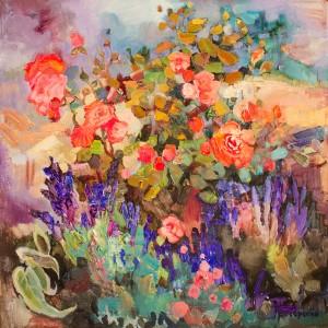 Роза в лаванде 70х70