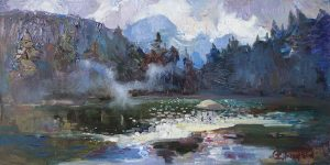 Traveling mist over the lake Sinevir 45x90cm/oil on canvas/2016