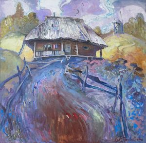 The hut in the Carpathian Mountains/ 70x70cm/ oil on canvas/ 2016